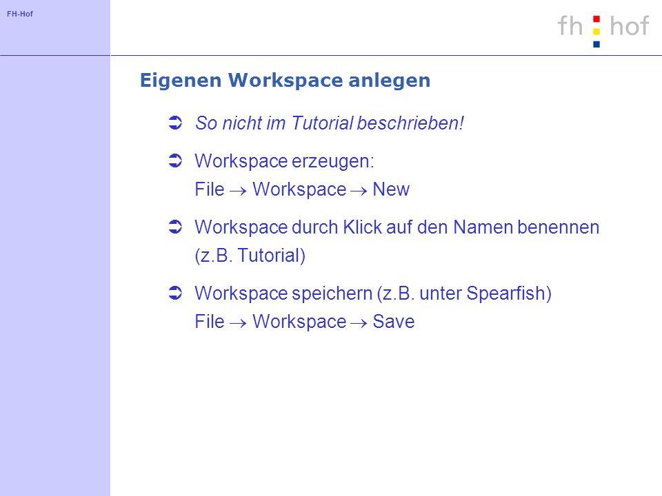 FH-Hof Eigenen Workspace anlegen So nicht im Tutorial beschrieben! Workspace erzeugen: File Workspace New Workspace durch Klick auf den Namen benennen
