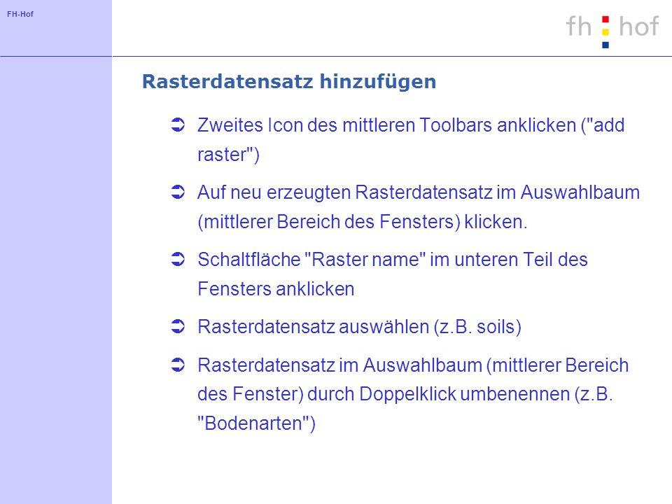 FH-Hof Rasterdatensatz hinzufügen Zweites Icon des mittleren Toolbars anklicken (