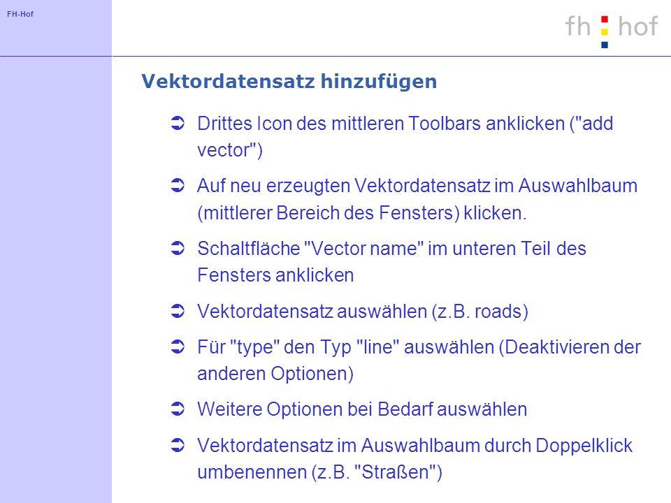 FH-Hof Vektordatensatz hinzufügen Drittes Icon des mittleren Toolbars anklicken (