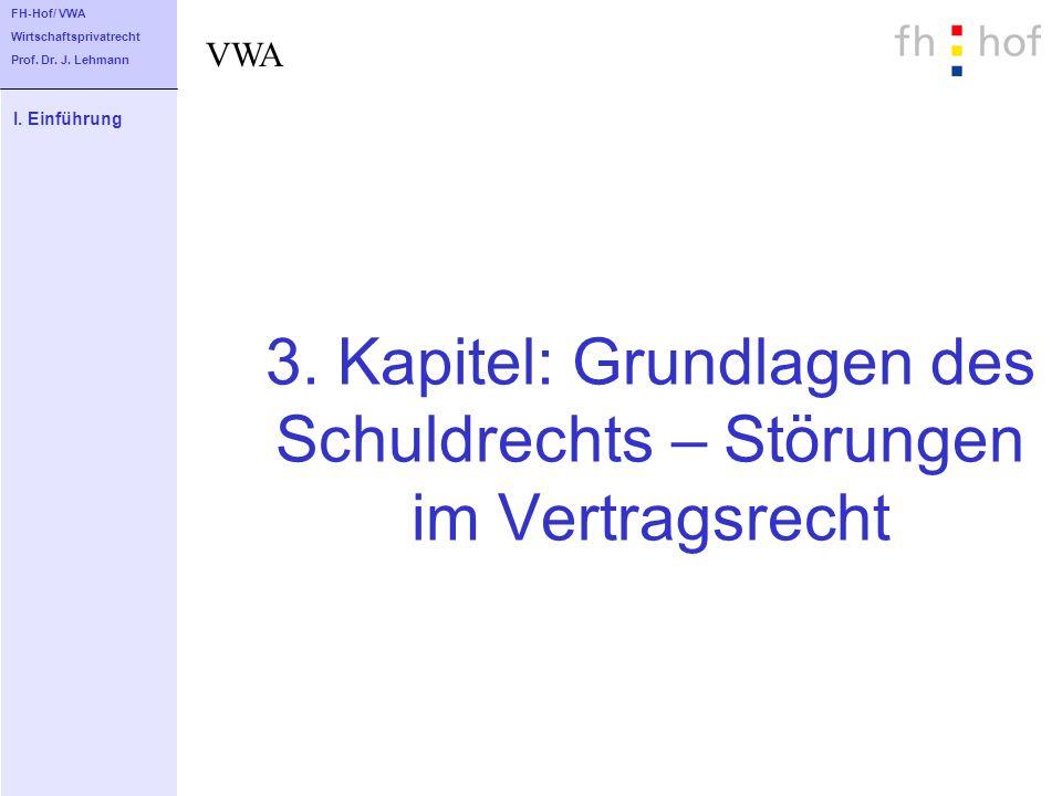3. Kapitel: Grundlagen des Schuldrechts – Störungen im Vertragsrecht I. Einführung FH-Hof/ VWA Wirtschaftsprivatrecht Prof. Dr. J. Lehmann VWA