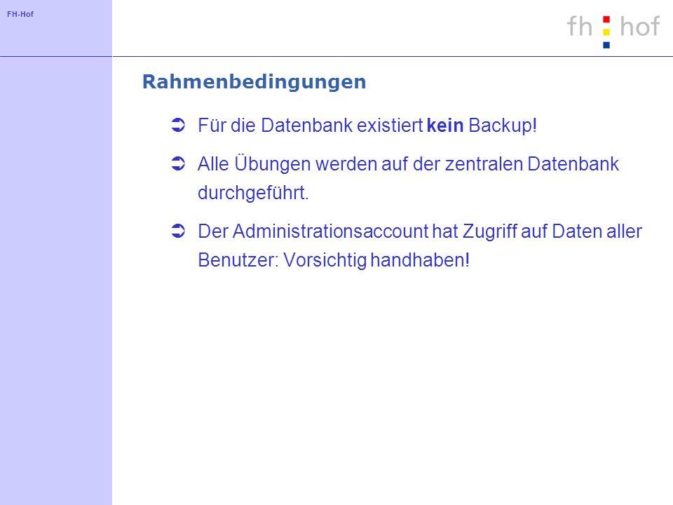 FH-Hof Rahmenbedingungen Für die Datenbank existiert kein Backup.