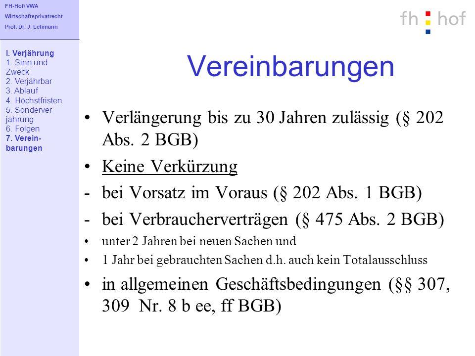 Vereinbarungen Verlängerung bis zu 30 Jahren zulässig (§ 202 Abs. 2 BGB) Keine Verkürzung -bei Vorsatz im Voraus (§ 202 Abs. 1 BGB) -bei Verbraucherve