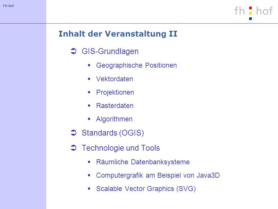 FH-Hof Inhalt der Veranstaltung II GIS-Grundlagen Geographische Positionen Vektordaten Projektionen Rasterdaten Algorithmen Standards (OGIS) Technolog