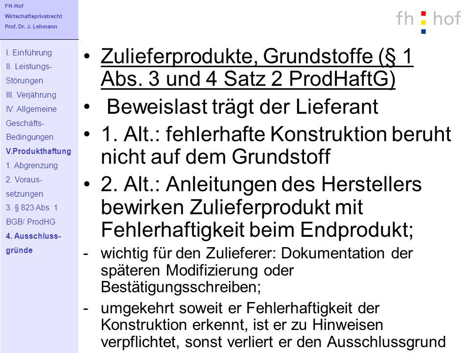 Zulieferprodukte, Grundstoffe (§ 1 Abs. 3 und 4 Satz 2 ProdHaftG) Beweislast trägt der Lieferant 1. Alt.: fehlerhafte Konstruktion beruht nicht auf de