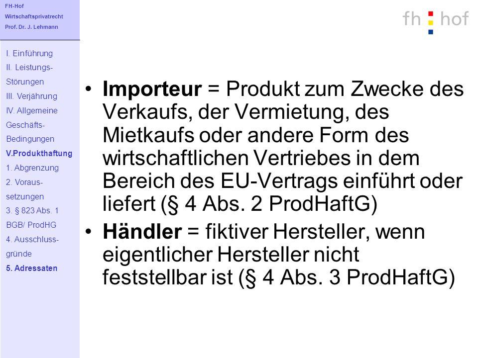 Importeur = Produkt zum Zwecke des Verkaufs, der Vermietung, des Mietkaufs oder andere Form des wirtschaftlichen Vertriebes in dem Bereich des EU-Vert
