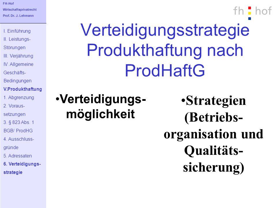 Verteidigungsstrategie Produkthaftung nach ProdHaftG I. Einführung II. Leistungs- Störungen III. Verjährung IV. Allgemeine Geschäfts- Bedingungen V.Pr