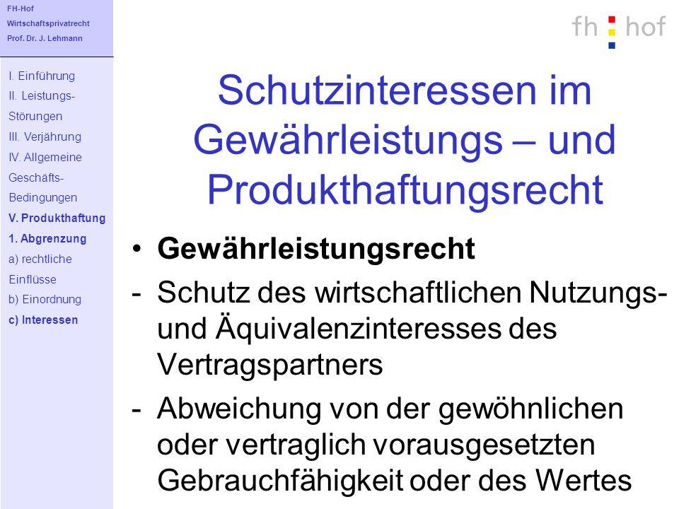 Schutzinteressen im Gewährleistungs – und Produkthaftungsrecht Gewährleistungsrecht -Schutz des wirtschaftlichen Nutzungs- und Äquivalenzinteresses de