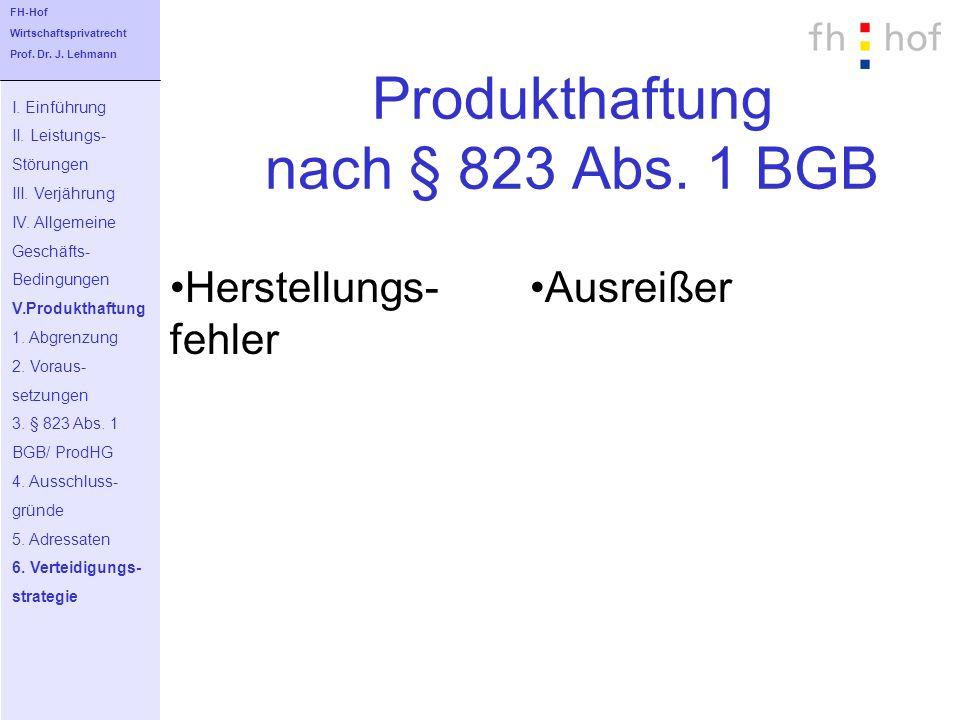 Produkthaftung nach § 823 Abs. 1 BGB I. Einführung II. Leistungs- Störungen III. Verjährung IV. Allgemeine Geschäfts- Bedingungen V.Produkthaftung 1.