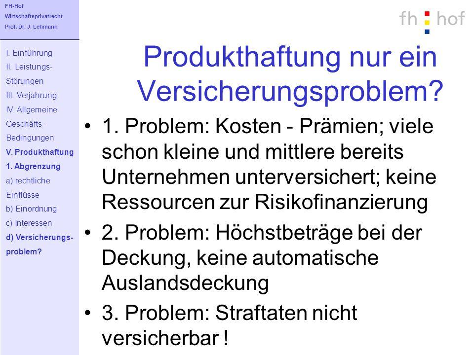 Produkthaftung nur ein Versicherungsproblem? 1. Problem: Kosten - Prämien; viele schon kleine und mittlere bereits Unternehmen unterversichert; keine