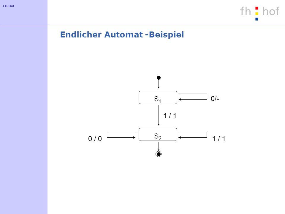 FH-Hof Endlicher Automat -Beispiel S1S1 1 / 1 0/- 0 / 0 1 / 1 S2S2