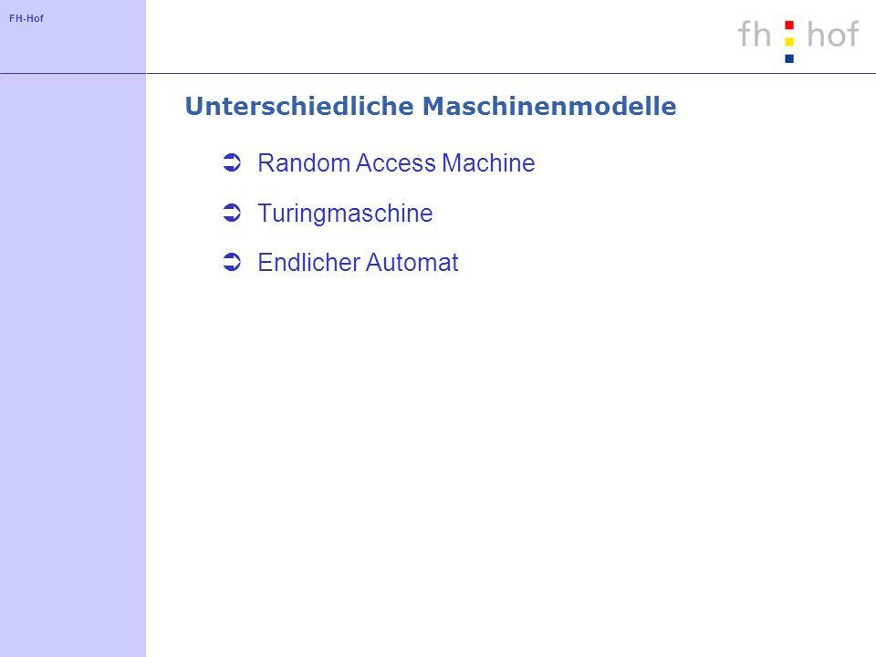 FH-Hof Unterschiedliche Maschinenmodelle Random Access Machine Turingmaschine Endlicher Automat