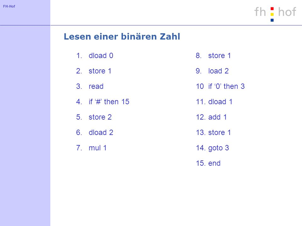 FH-Hof Lesen einer binären Zahl 1.dload 0 2.store 1 3.read 4.if # then 15 5.store 2 6.dload 2 7.mul 1 8.store 1 9.load 2 10if 0 then 3 11.dload 1 12.add 1 13.store 1 14.goto 3 15.end