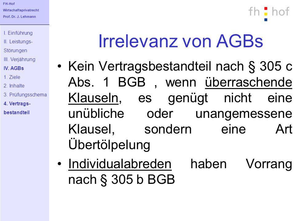 Irrelevanz von AGBs Kein Vertragsbestandteil nach § 305 c Abs. 1 BGB, wenn überraschende Klauseln, es genügt nicht eine unübliche oder unangemessene K