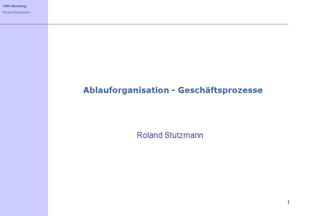 VWA Nürnberg Roland Stutzmann 1 Ablauforganisation - Geschäftsprozesse Roland Stutzmann