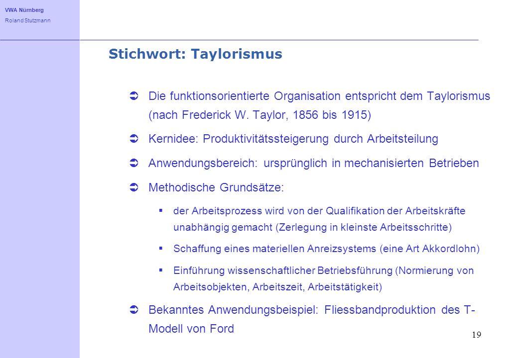 VWA Nürnberg Roland Stutzmann 19 Stichwort: Taylorismus Die funktionsorientierte Organisation entspricht dem Taylorismus (nach Frederick W. Taylor, 18