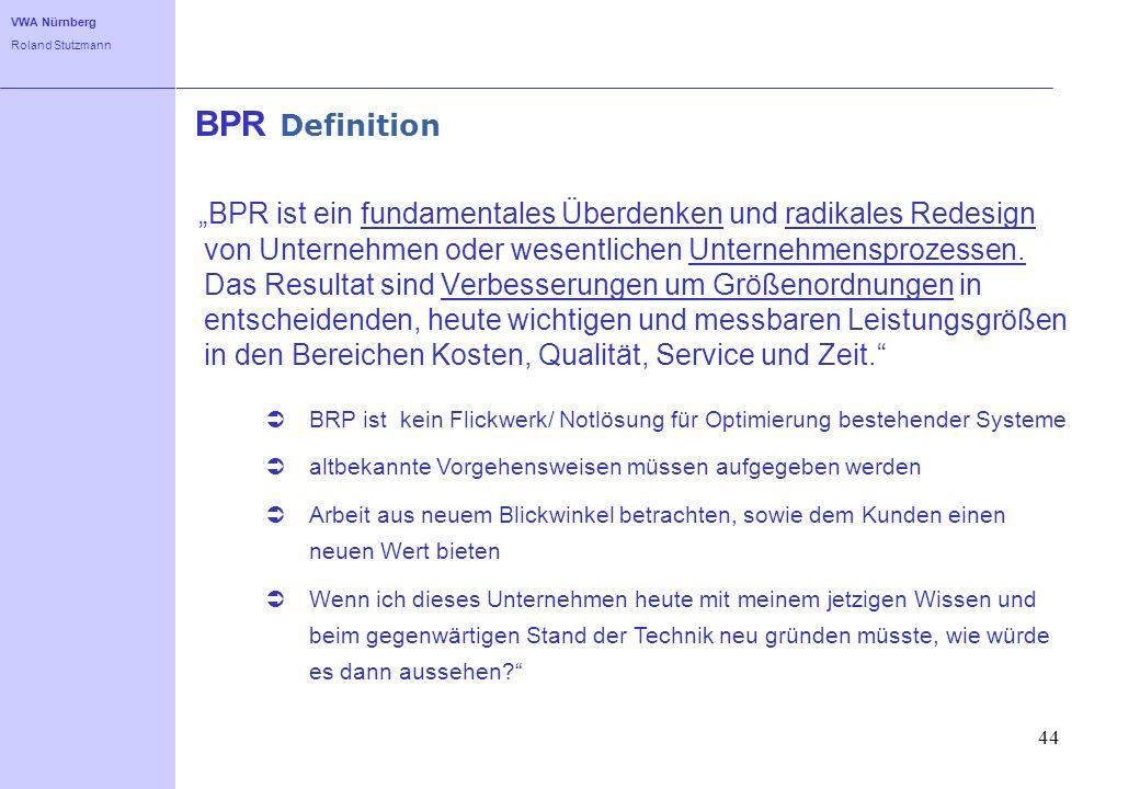 VWA Nürnberg Roland Stutzmann 44 BPR Definition BPR ist ein fundamentales Überdenken und radikales Redesign von Unternehmen oder wesentlichen Unterneh