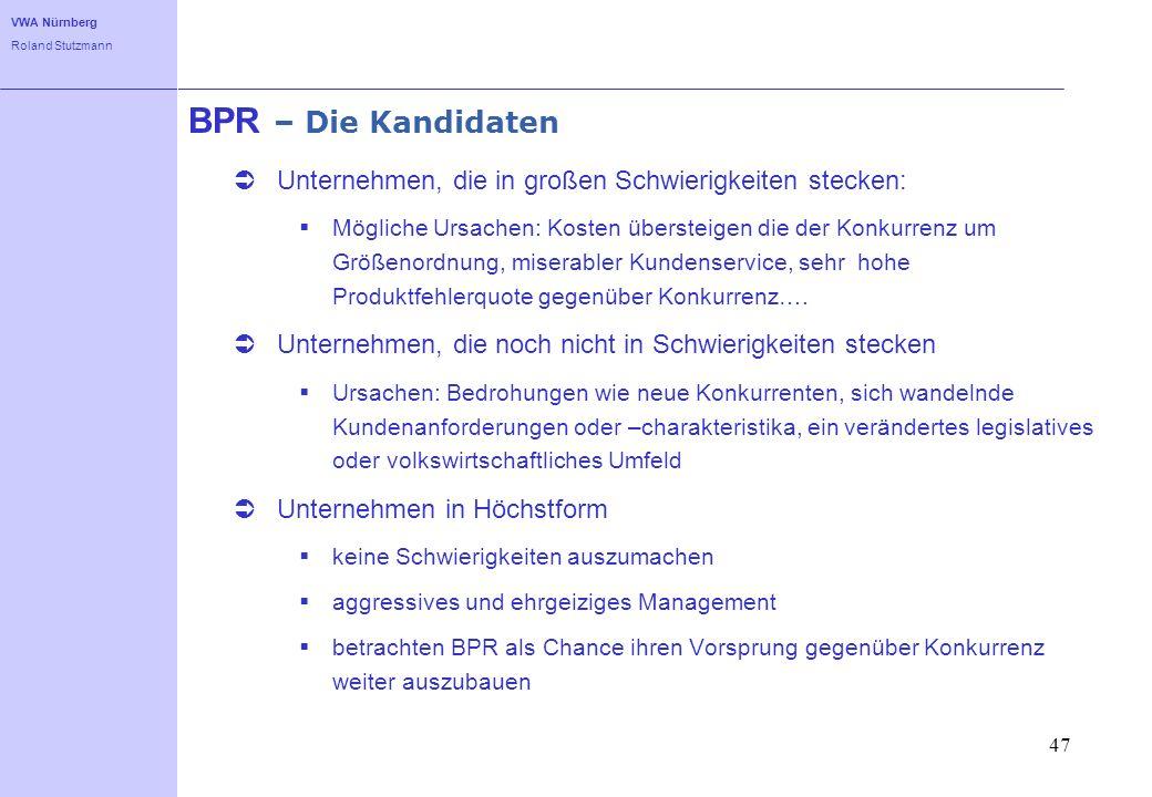 VWA Nürnberg Roland Stutzmann 47 BPR – Die Kandidaten Unternehmen, die in großen Schwierigkeiten stecken: Mögliche Ursachen: Kosten übersteigen die de