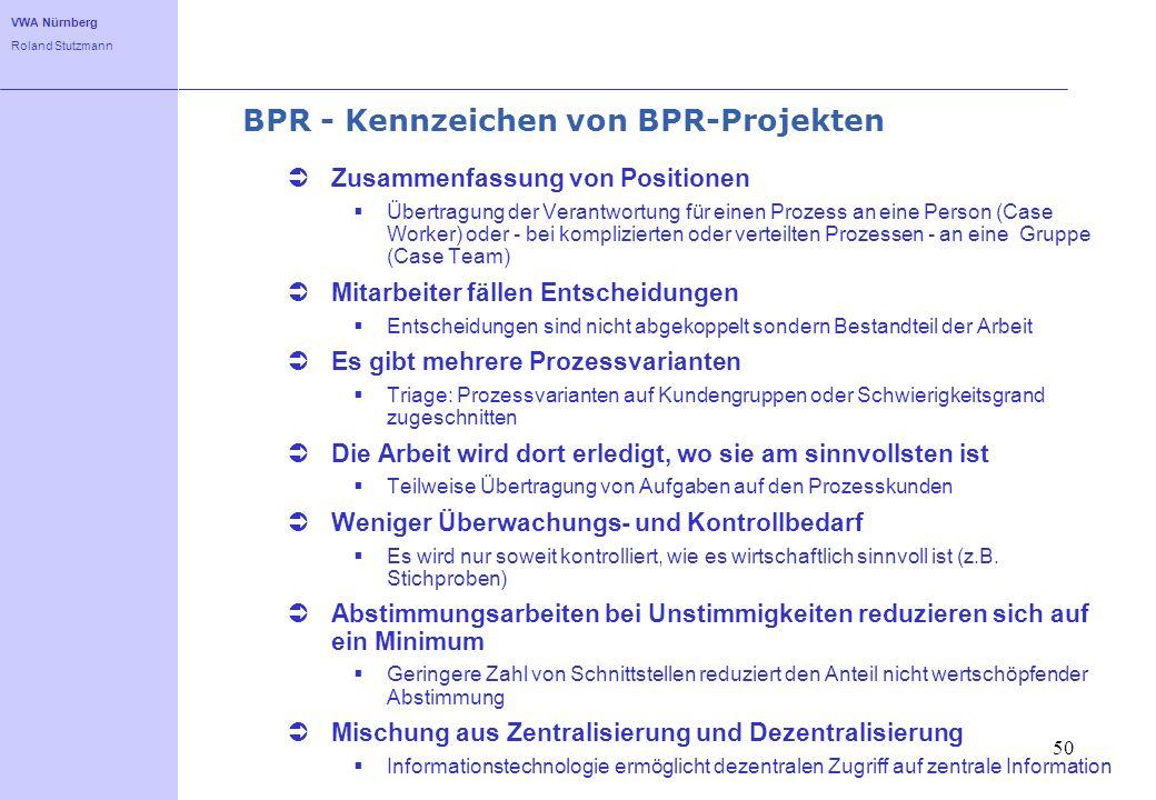 VWA Nürnberg Roland Stutzmann 50 BPR - Kennzeichen von BPR-Projekten Zusammenfassung von Positionen Übertragung der Verantwortung für einen Prozess an