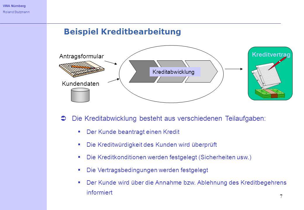 VWA Nürnberg Roland Stutzmann 7 Beispiel Kreditbearbeitung Die Kreditabwicklung besteht aus verschiedenen Teilaufgaben: Der Kunde beantragt einen Kred