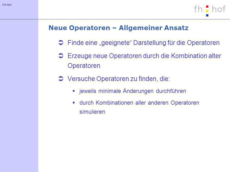 FH-Hof Neue Operatoren – Allgemeiner Ansatz Finde eine geeignete Darstellung für die Operatoren Erzeuge neue Operatoren durch die Kombination alter Op