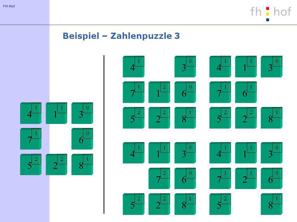 FH-Hof Beispiel – Zahlenpuzzle 3 1 2 34 5 67 8 1 1 01 10 22 1 2 34 5 67 8 1 1 01 11 22 1 2 34 5 67 8 1 1 01 20 22 1 2 34 5 67 8 1 1 01 10 2 1 1 2 34 5 67 8 2 1 01 10 22