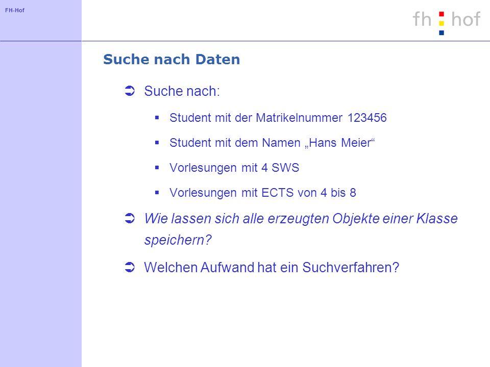 FH-Hof Suche nach Daten Suche nach: Student mit der Matrikelnummer 123456 Student mit dem Namen Hans Meier Vorlesungen mit 4 SWS Vorlesungen mit ECTS