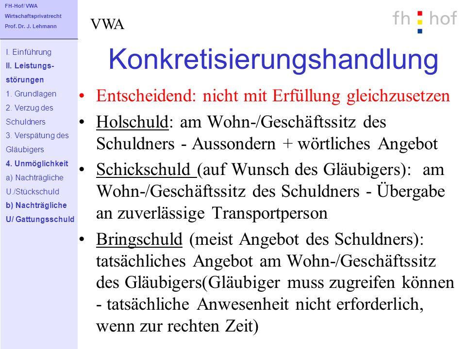 Konkretisierungshandlung Entscheidend: nicht mit Erfüllung gleichzusetzen Holschuld: am Wohn-/Geschäftssitz des Schuldners - Aussondern + wörtliches A