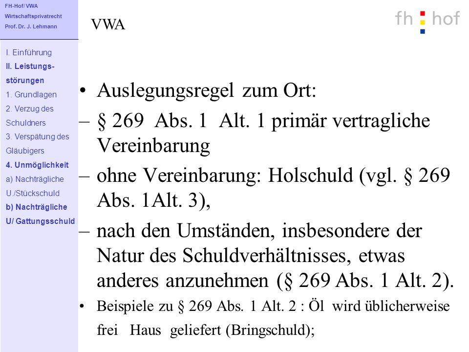 Auslegungsregel zum Ort: –§ 269 Abs. 1 Alt. 1 primär vertragliche Vereinbarung –ohne Vereinbarung: Holschuld (vgl. § 269 Abs. 1Alt. 3), –nach den Umst