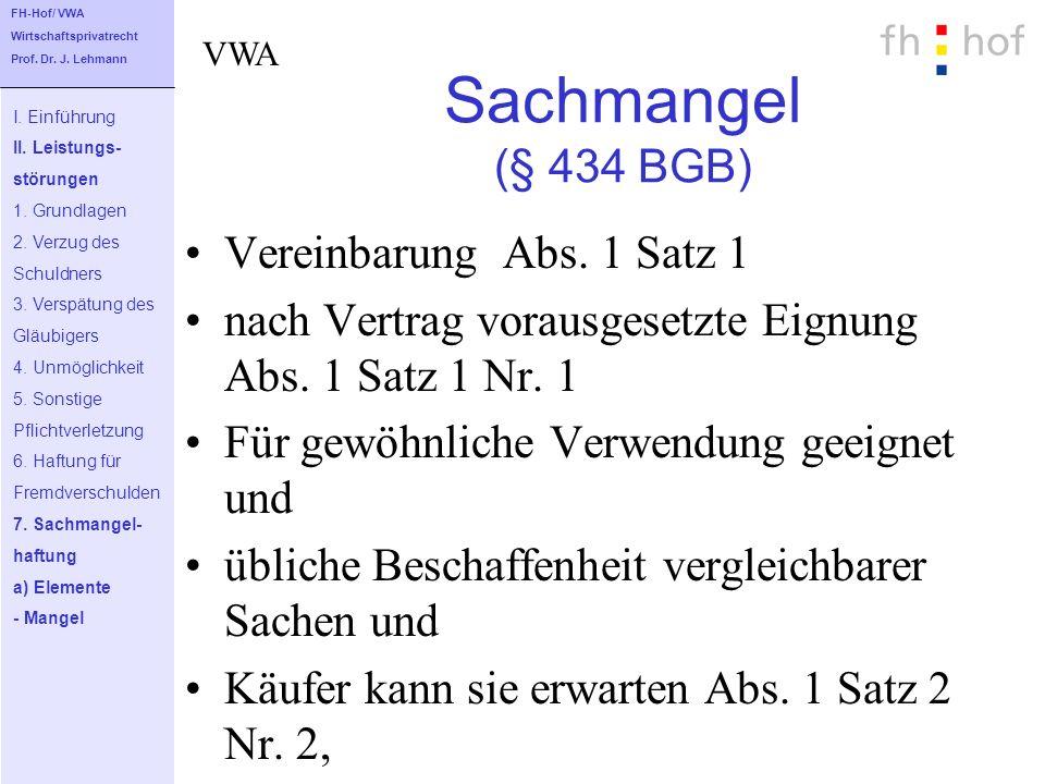 Sachmangel (§ 434 BGB) Vereinbarung Abs. 1 Satz 1 nach Vertrag vorausgesetzte Eignung Abs. 1 Satz 1 Nr. 1 Für gewöhnliche Verwendung geeignet und übli