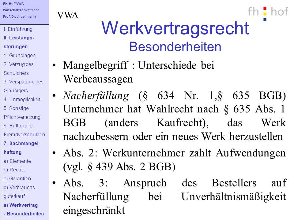 Werkvertragsrecht Besonderheiten Mangelbegriff : Unterschiede bei Werbeaussagen Nacherfüllung (§ 634 Nr. 1,§ 635 BGB) Unternehmer hat Wahlrecht nach §