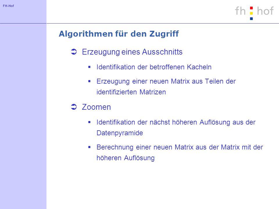 FH-Hof Algorithmen für den Zugriff Erzeugung eines Ausschnitts Identifikation der betroffenen Kacheln Erzeugung einer neuen Matrix aus Teilen der iden
