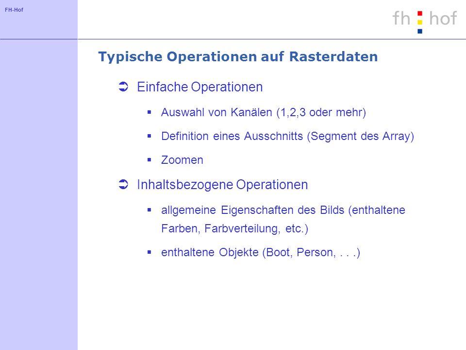 FH-Hof Typische Operationen auf Rasterdaten Einfache Operationen Auswahl von Kanälen (1,2,3 oder mehr) Definition eines Ausschnitts (Segment des Array