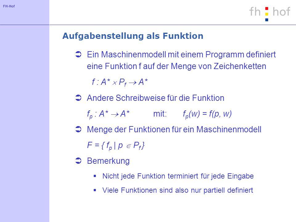 FH-Hof Methoden für den Vergleich von Maschinen Finde für jedes Programm der Maschine A ein äquivalentes Programm der Maschine B Zwei Programme sind äquivalent, wenn sie für jede Eingabe dieselbe Ausgabe liefern w, v A*: g(w, p g ) = v f(w, p f ) = v In diesem Fall wäre B mindestens so mächtig wie A Simuliere die Maschine A auf der Maschine B Ordne jedem Speicher auf Maschine A entsprechenden Speicher auf Maschine B zu Definiere Sequenzen von Befehlen auf Maschine B für jeden Befehl auf Maschine A Beweise die Korrektheit des jeweiligen Ansatzes