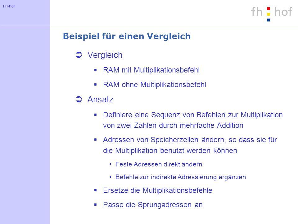 FH-Hof Beispiel für einen Vergleich Vergleich RAM mit Multiplikationsbefehl RAM ohne Multiplikationsbefehl Ansatz Definiere eine Sequenz von Befehlen