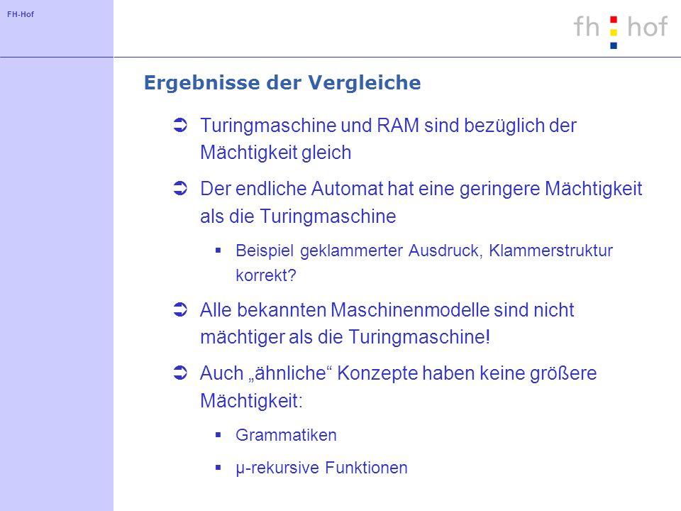 FH-Hof Folgerungen Die Turingmaschine (RAM, etc.) scheint bezüglich der Mächtigkeit maximal zu sein.
