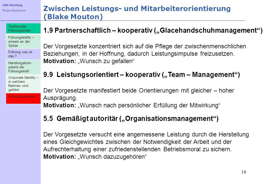 VWA Nürnberg Roland Stutzmann Zwischen Leistungs- und Mitarbeiterorientierung (Blake Mouton) 16 1.9 Partnerschaftlich – kooperativ (Glacehandschuhmana