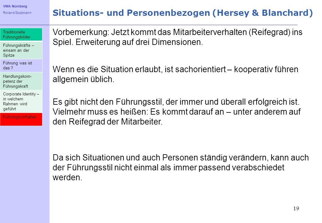 VWA Nürnberg Roland Stutzmann Situations- und Personenbezogen (Hersey & Blanchard) 19 Vorbemerkung: Jetzt kommt das Mitarbeiterverhalten (Reifegrad) i