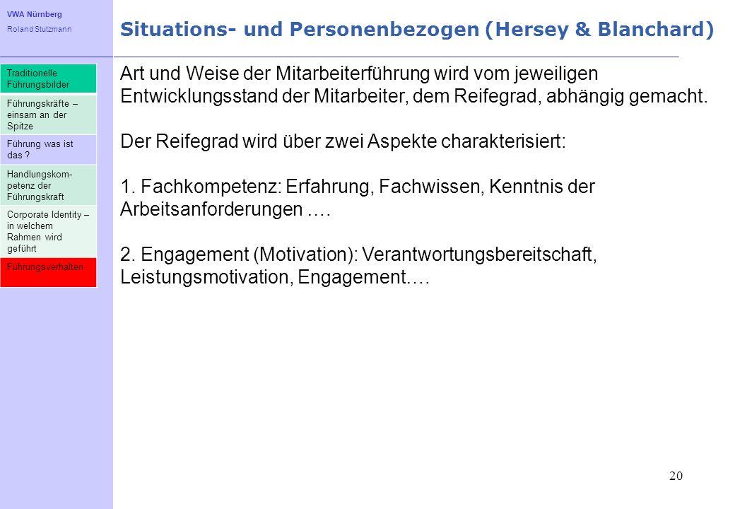 VWA Nürnberg Roland Stutzmann Situations- und Personenbezogen (Hersey & Blanchard) 20 Art und Weise der Mitarbeiterführung wird vom jeweiligen Entwick
