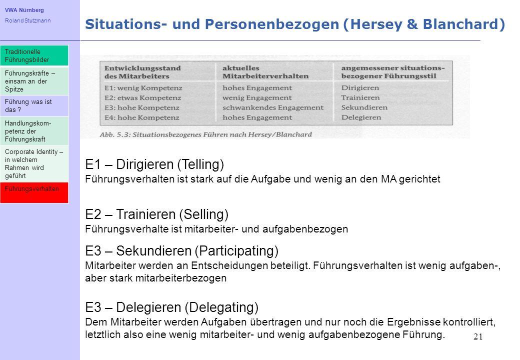 VWA Nürnberg Roland Stutzmann Situations- und Personenbezogen (Hersey & Blanchard) 21 E1 – Dirigieren (Telling) Führungsverhalten ist stark auf die Au