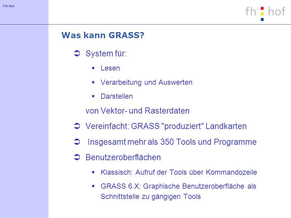 FH-Hof Was kann GRASS? System für: Lesen Verarbeitung und Auswerten Darstellen von Vektor- und Rasterdaten Vereinfacht: GRASS