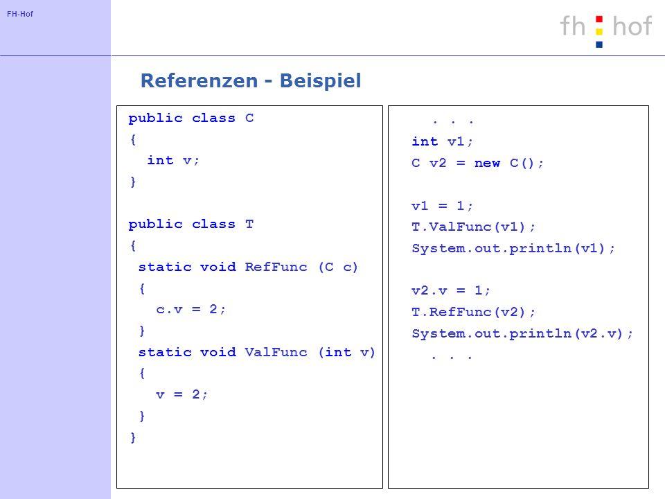 FH-Hof Referenzen - Beispiel public class C { int v; } public class T { static void RefFunc (C c) { c.v = 2; } static void ValFunc (int v) { v = 2; }.