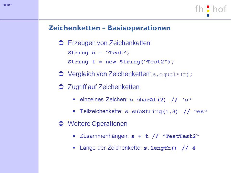 FH-Hof Zeichenketten - Basisoperationen Erzeugen von Zeichenketten: String s = Test; String t = new String(Test2); Vergleich von Zeichenketten: s.equals(t); Zugriff auf Zeichenketten einzelnes Zeichen: s.charAt(2) // s Teilzeichenkette: s.subString(1,3) // es Weitere Operationen Zusammenhängen: s + t // TestTest2 Länge der Zeichenkette: s.length() // 4