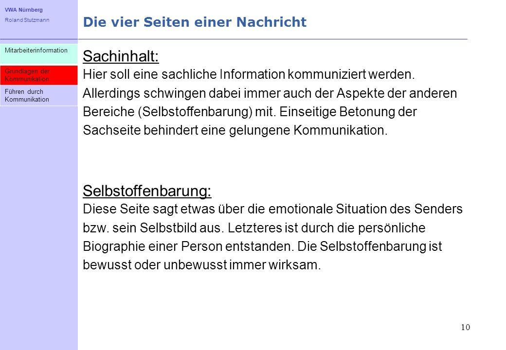 VWA Nürnberg Roland Stutzmann Die vier Seiten einer Nachricht 11 Mitarbeiterinformation Grundlagen der Kommunikation Führen durch Kommunikation Beziehung: Diese Seite drückt aus, wie der Sender zum Empfänger steht.