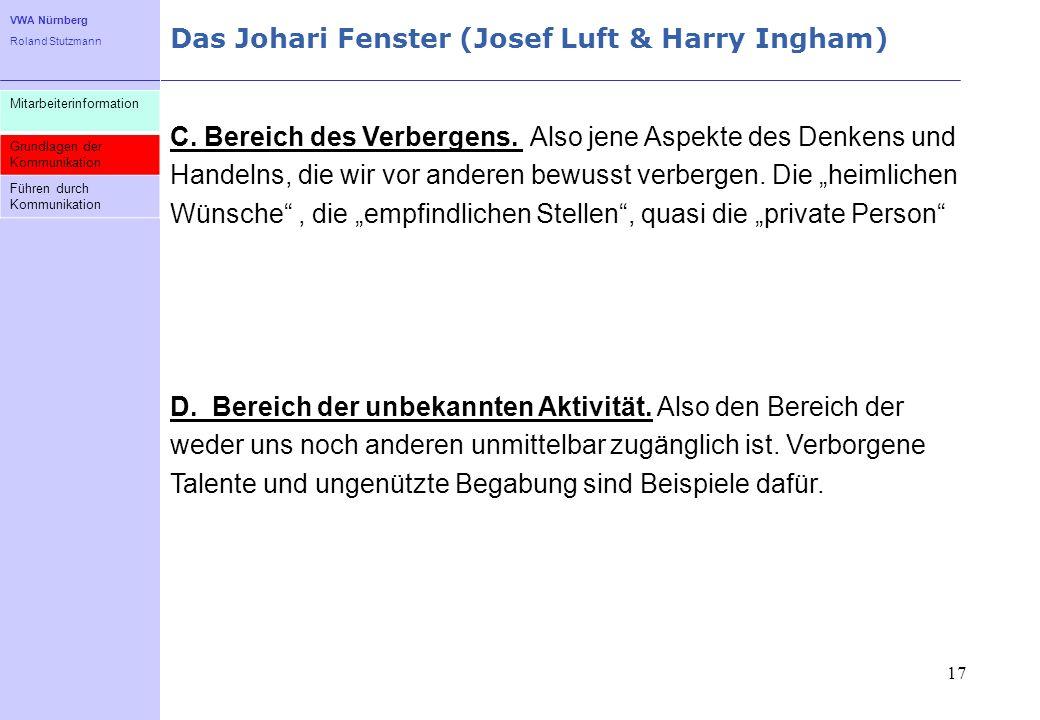 VWA Nürnberg Roland Stutzmann Das Johari Fenster (Josef Luft & Harry Ingham) 17 Mitarbeiterinformation Grundlagen der Kommunikation Führen durch Kommu