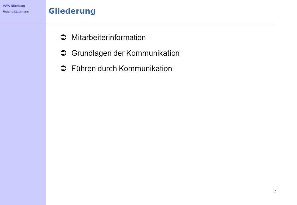 VWA Nürnberg Roland Stutzmann Kommunikation als Grundlage von Managementtechniken 3