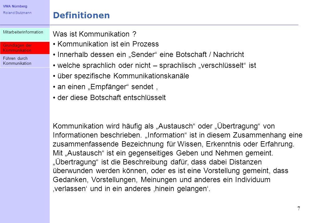 VWA Nürnberg Roland Stutzmann Definitionen 7 Mitarbeiterinformation Grundlagen der Kommunikation Führen durch Kommunikation Was ist Kommunikation ? Ko