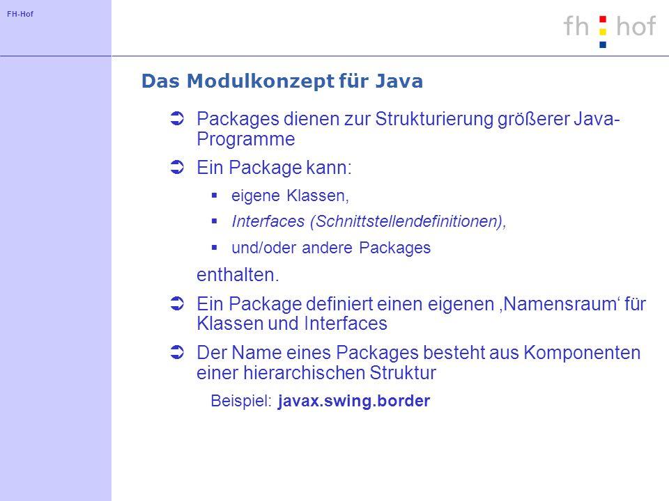 FH-Hof Das Modulkonzept für Java Packages dienen zur Strukturierung größerer Java- Programme Ein Package kann: eigene Klassen, Interfaces (Schnittstellendefinitionen), und/oder andere Packages enthalten.