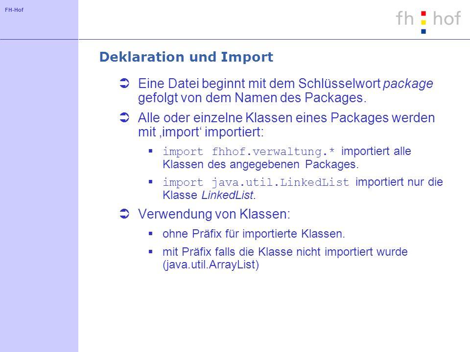 FH-Hof Deklaration und Import Eine Datei beginnt mit dem Schlüsselwort package gefolgt von dem Namen des Packages. Alle oder einzelne Klassen eines Pa