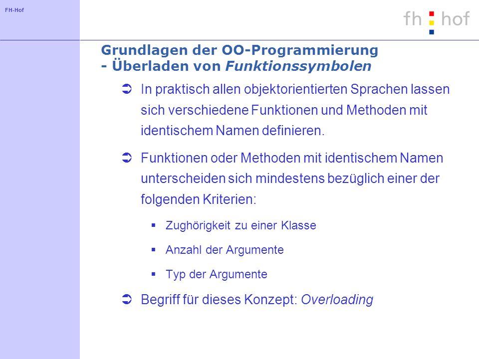 FH-Hof Grundlagen der OO-Programmierung - Überladen von Funktionssymbolen In praktisch allen objektorientierten Sprachen lassen sich verschiedene Funktionen und Methoden mit identischem Namen definieren.