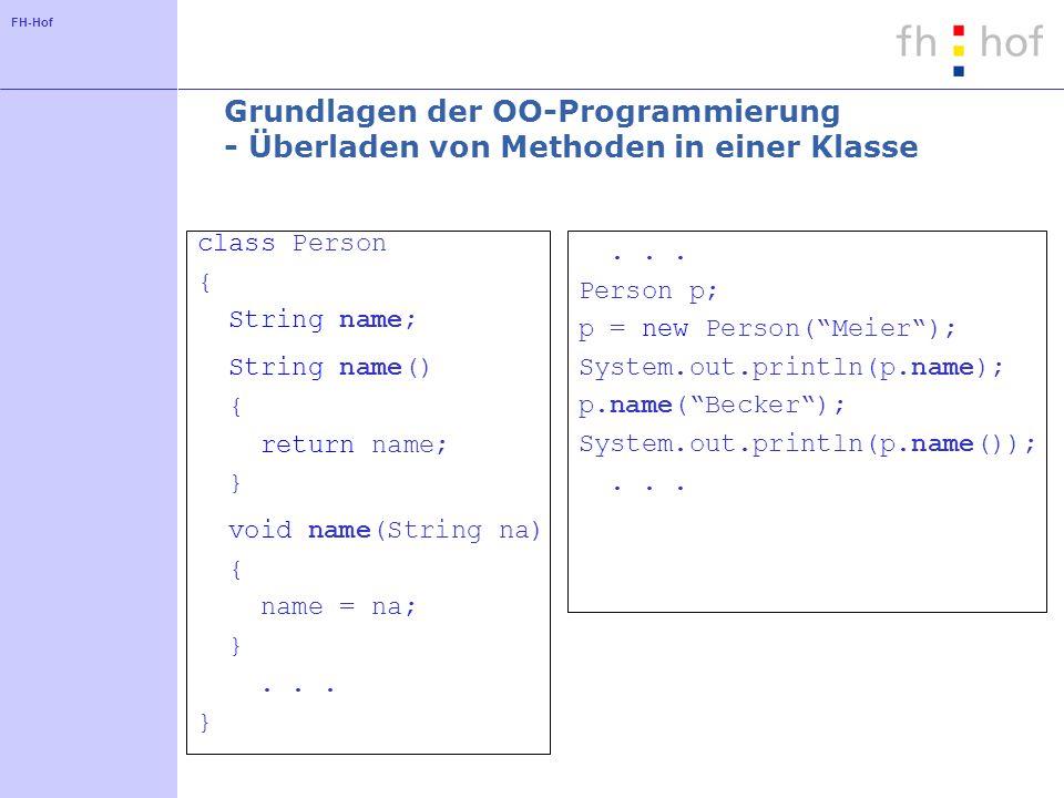 FH-Hof Grundlagen der OO-Programmierung - Überladen von Methoden in einer Klasse class Person { String name; String name() { return name; } void name(String na) { name = na; }...